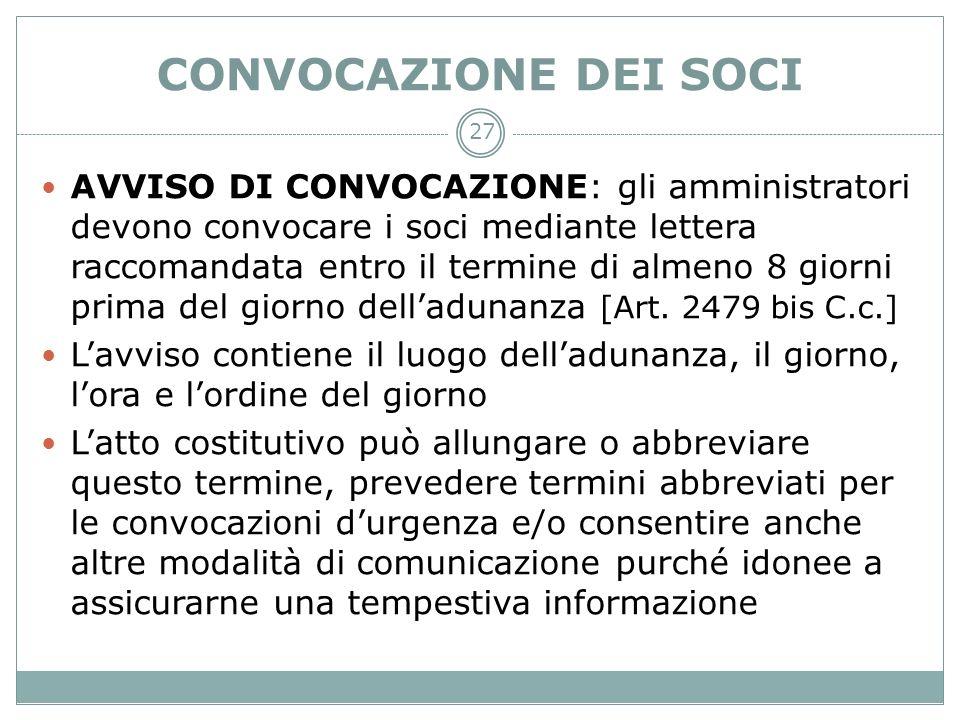 CONVOCAZIONE DEI SOCI
