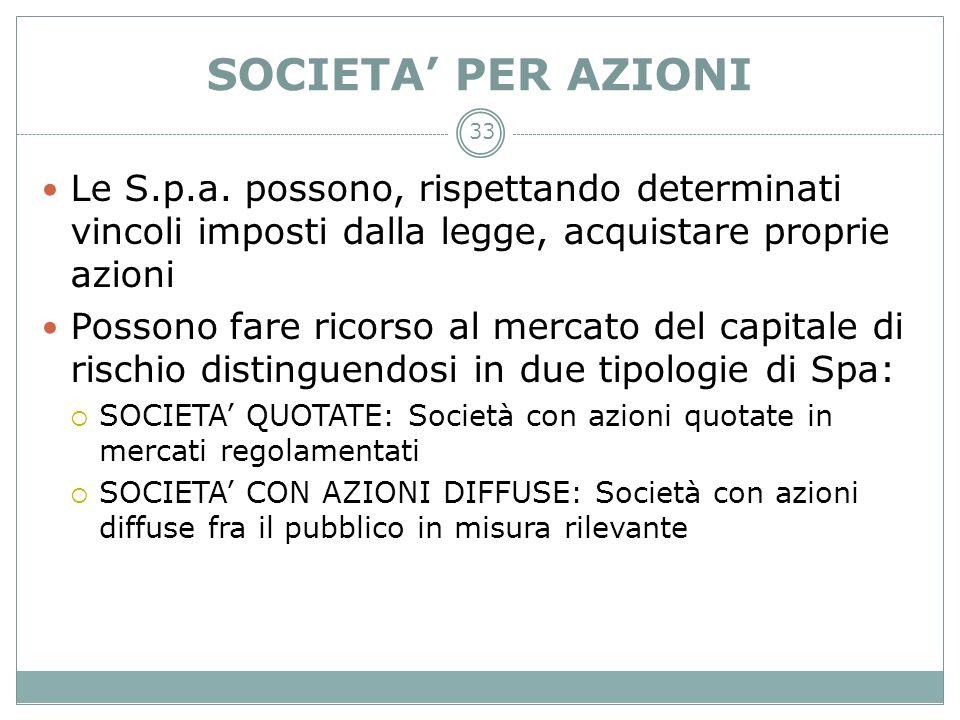 SOCIETA' PER AZIONILe S.p.a. possono, rispettando determinati vincoli imposti dalla legge, acquistare proprie azioni.