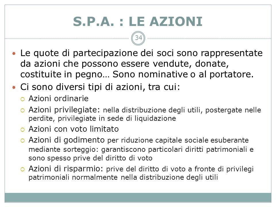 S.P.A. : LE AZIONI