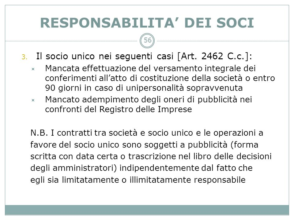 RESPONSABILITA' DEI SOCI