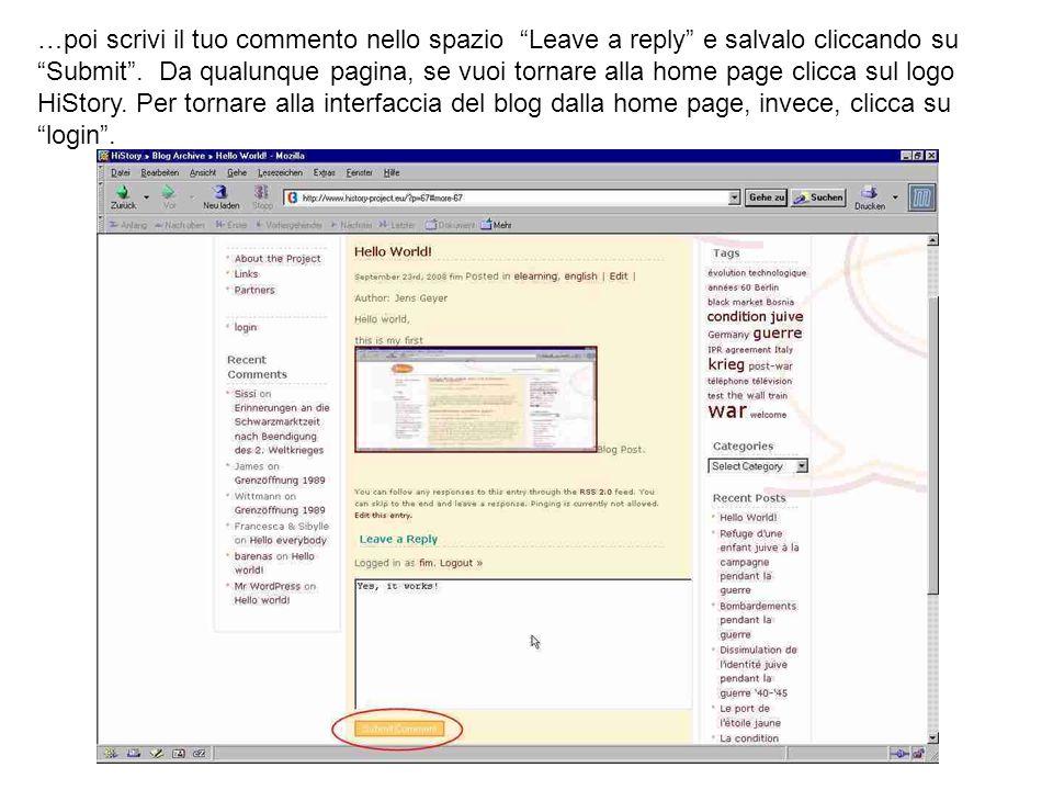 …poi scrivi il tuo commento nello spazio Leave a reply e salvalo cliccando su Submit .