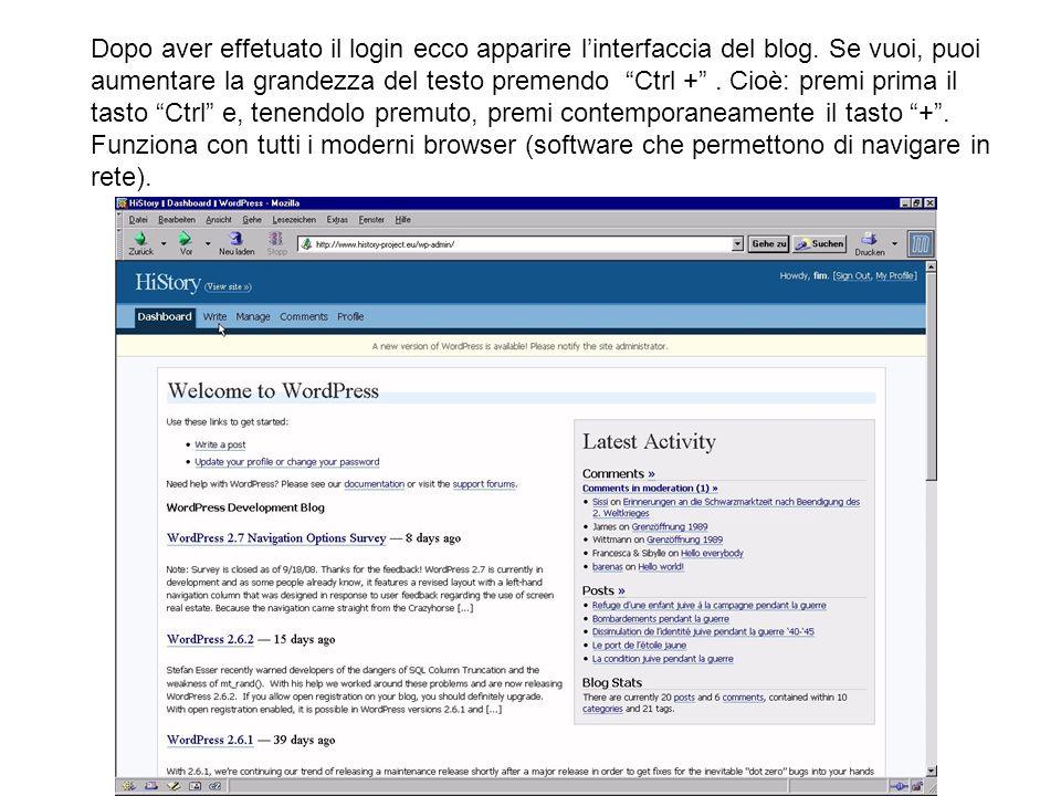 Dopo aver effetuato il login ecco apparire l'interfaccia del blog