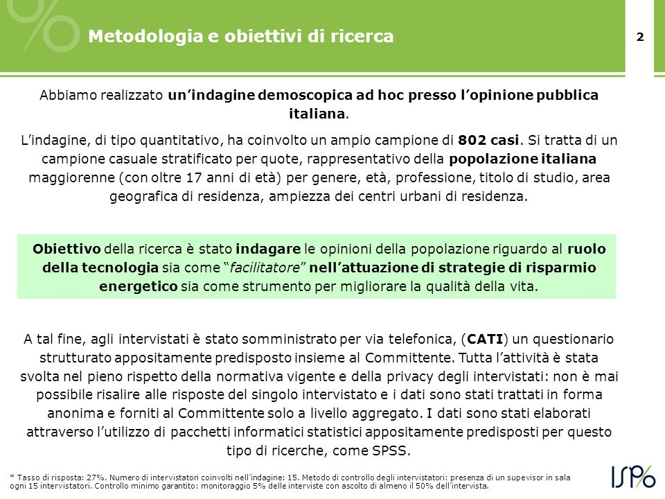 Metodologia e obiettivi di ricerca