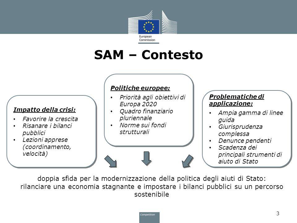 SAM – ContestoPolitiche europee: Priorità agli obiettivi di Europa 2020. Quadro finanziario pluriennale.
