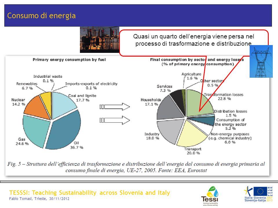 Consumo di energia Quasi un quarto dell'energia viene persa nel processo di trasformazione e distribuzione.