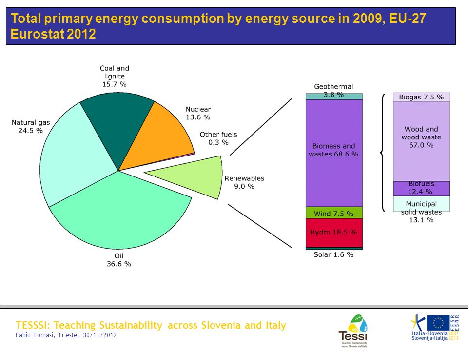 Total primary energy consumption by energy source in 2009, EU-27