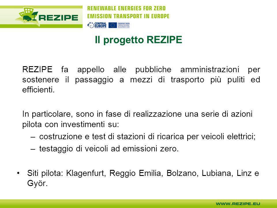 Il progetto REZIPE REZIPE fa appello alle pubbliche amministrazioni per sostenere il passaggio a mezzi di trasporto più puliti ed efficienti.