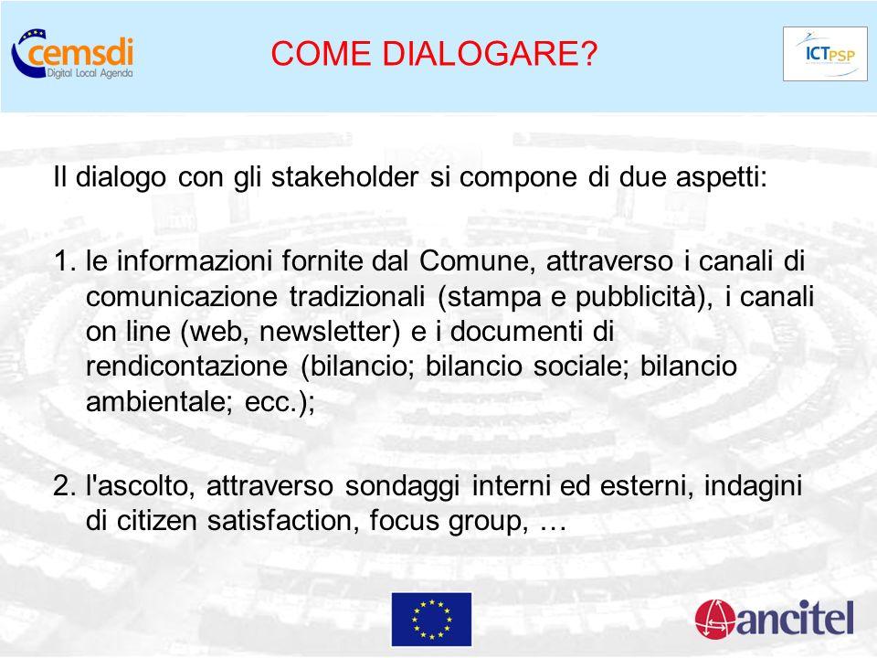 COME DIALOGARE Il dialogo con gli stakeholder si compone di due aspetti: