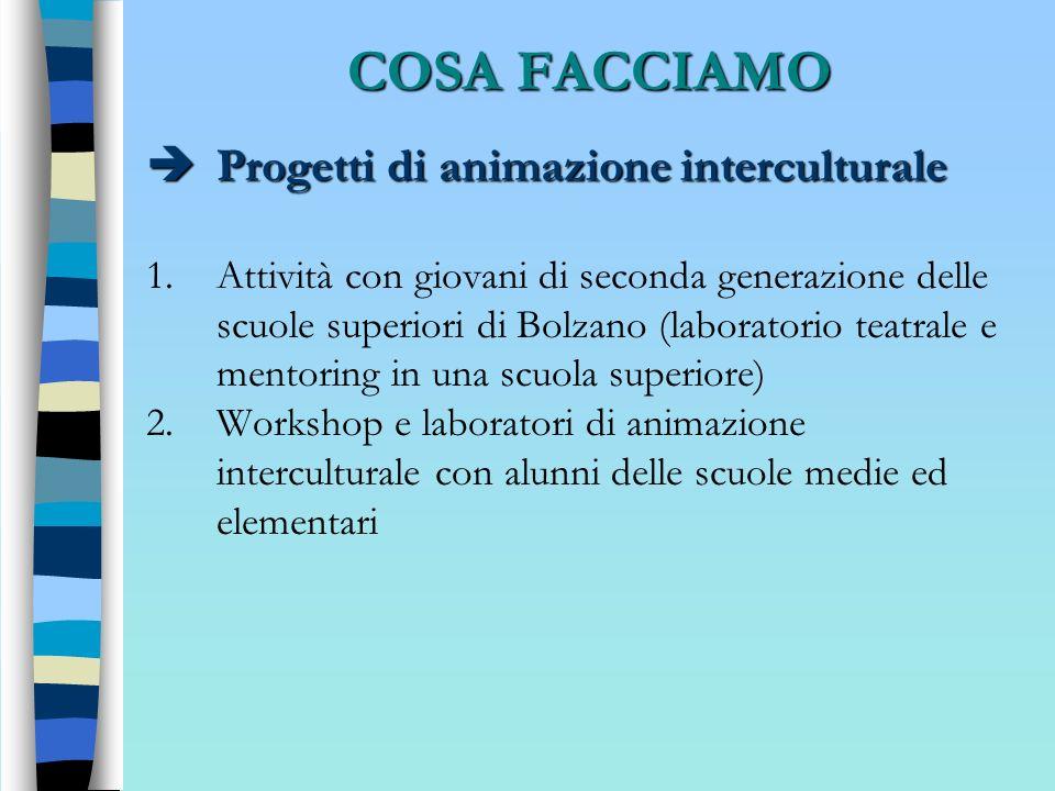 COSA FACCIAMO Progetti di animazione interculturale