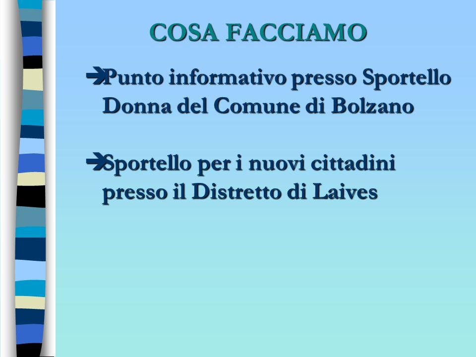 COSA FACCIAMO Punto informativo presso Sportello Donna del Comune di Bolzano.