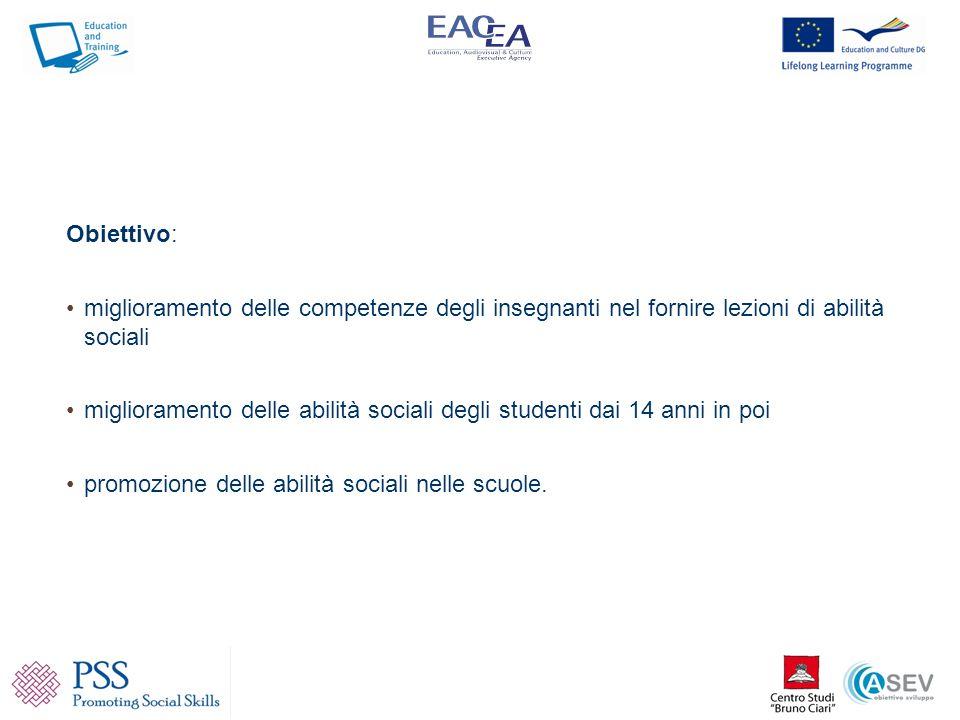 Obiettivo: miglioramento delle competenze degli insegnanti nel fornire lezioni di abilità sociali.