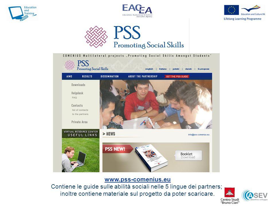 Contiene le guide sulle abilità sociali nelle 5 lingue dei partners;