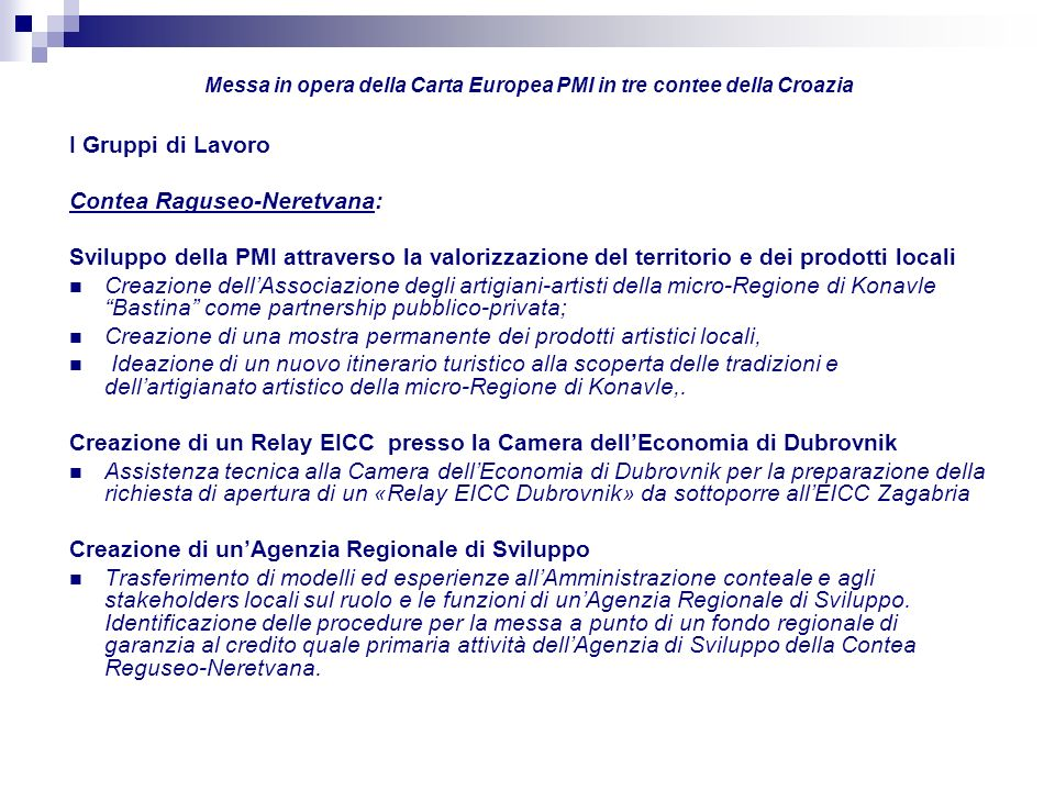 Messa in opera della Carta Europea PMI in tre contee della Croazia