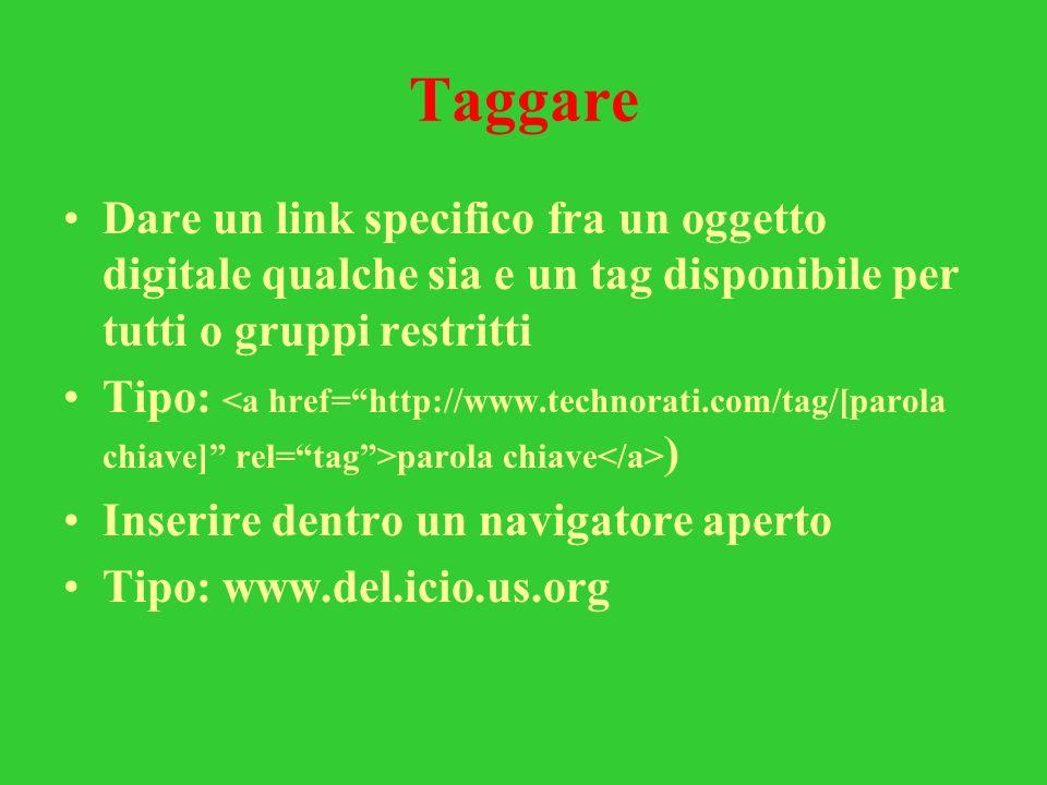 Taggare Dare un link specifico fra un oggetto digitale qualche sia e un tag disponibile per tutti o gruppi restritti.