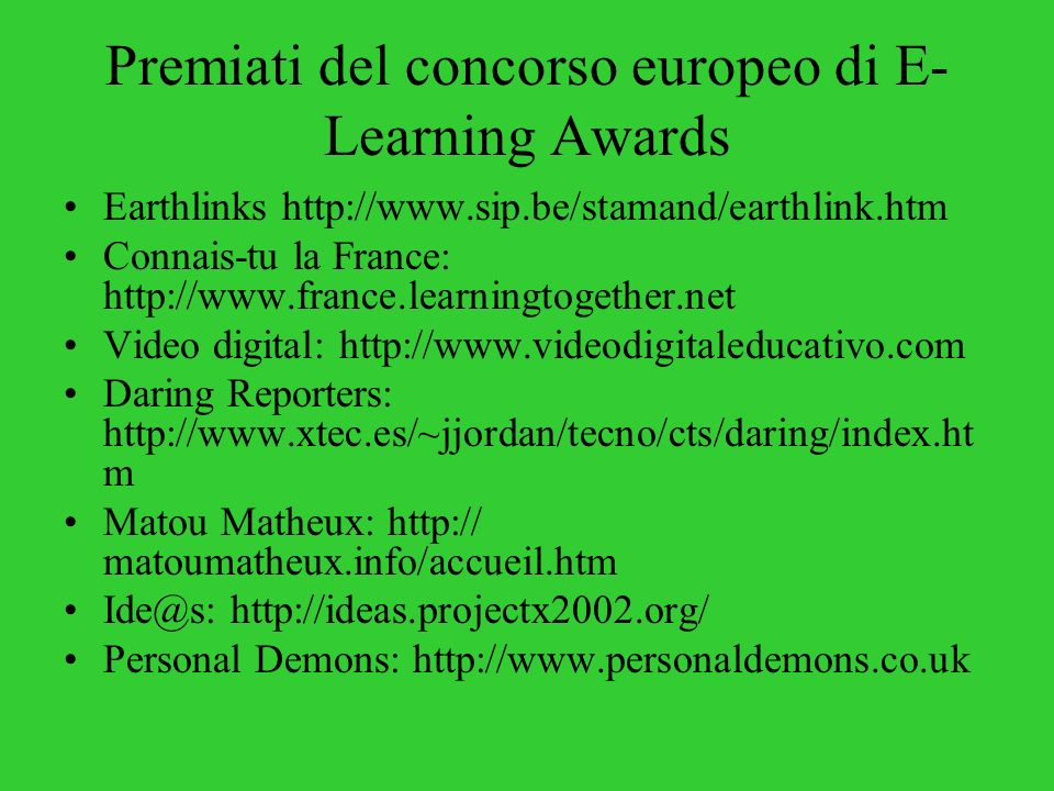 Premiati del concorso europeo di E-Learning Awards