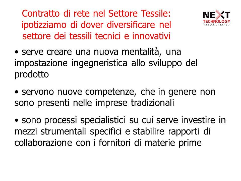 Contratto di rete nel Settore Tessile: ipotizziamo di dover diversificare nel settore dei tessili tecnici e innovativi