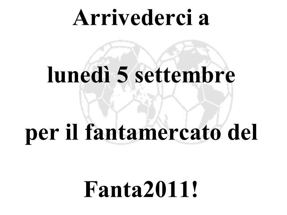 Arrivederci a lunedì 5 settembre per il fantamercato del Fanta2011!