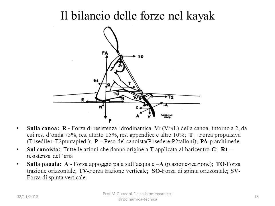 Il bilancio delle forze nel kayak