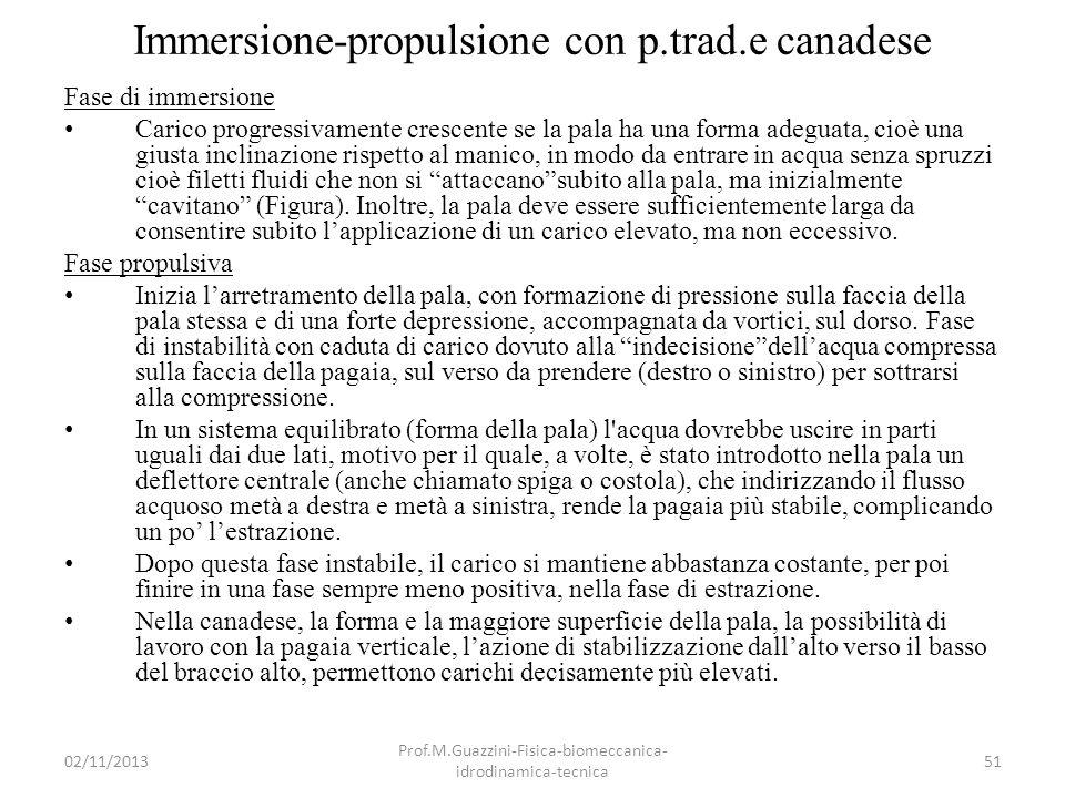 Immersione-propulsione con p.trad.e canadese