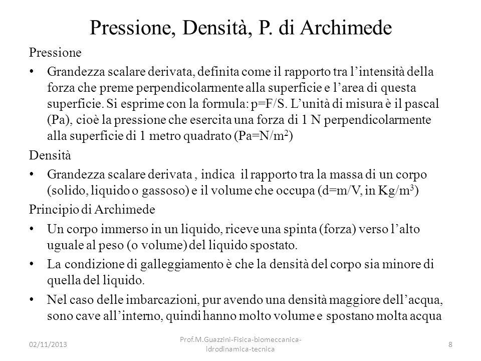 Pressione, Densità, P. di Archimede