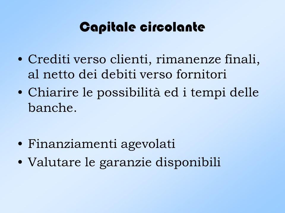 Capitale circolante Crediti verso clienti, rimanenze finali, al netto dei debiti verso fornitori. Chiarire le possibilità ed i tempi delle banche.