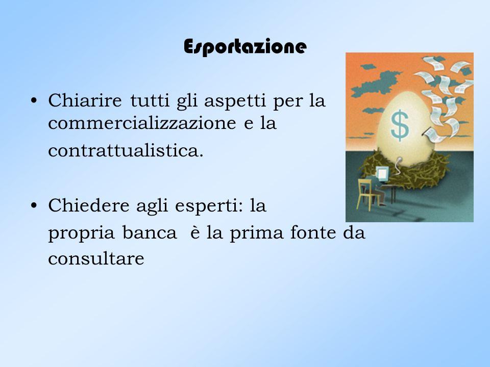 Esportazione Chiarire tutti gli aspetti per la commercializzazione e la. contrattualistica. Chiedere agli esperti: la.