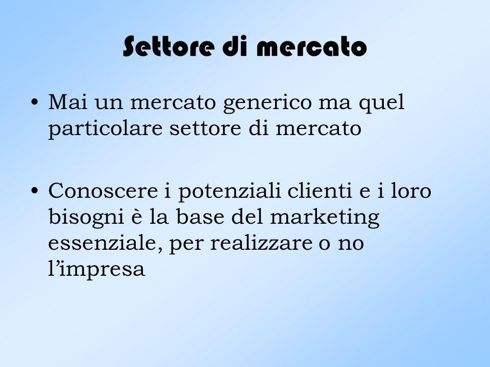 Settore di mercato Mai un mercato generico ma quel particolare settore di mercato.