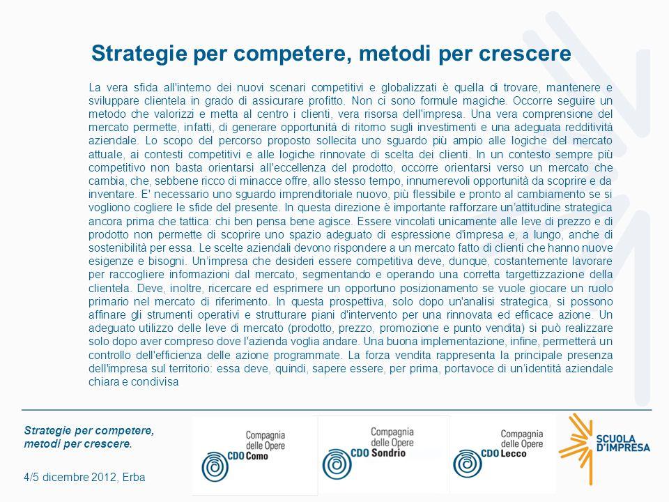 Strategie per competere, metodi per crescere