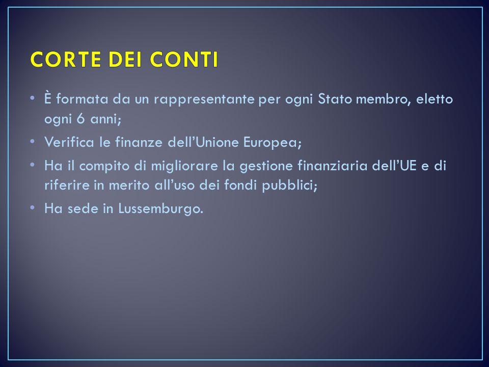 CORTE DEI CONTI È formata da un rappresentante per ogni Stato membro, eletto ogni 6 anni; Verifica le finanze dell'Unione Europea;