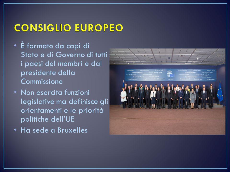 CONSIGLIO EUROPEO È formato da capi di Stato e di Governo di tutti i paesi del membri e dal presidente della Commissione.