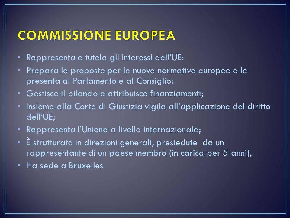 COMMISSIONE EUROPEA Rappresenta e tutela gli interessi dell'UE: