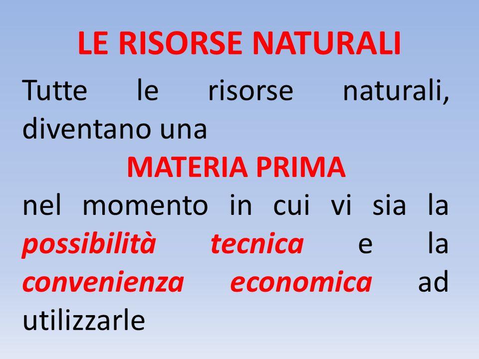 LE RISORSE NATURALI Tutte le risorse naturali, diventano una
