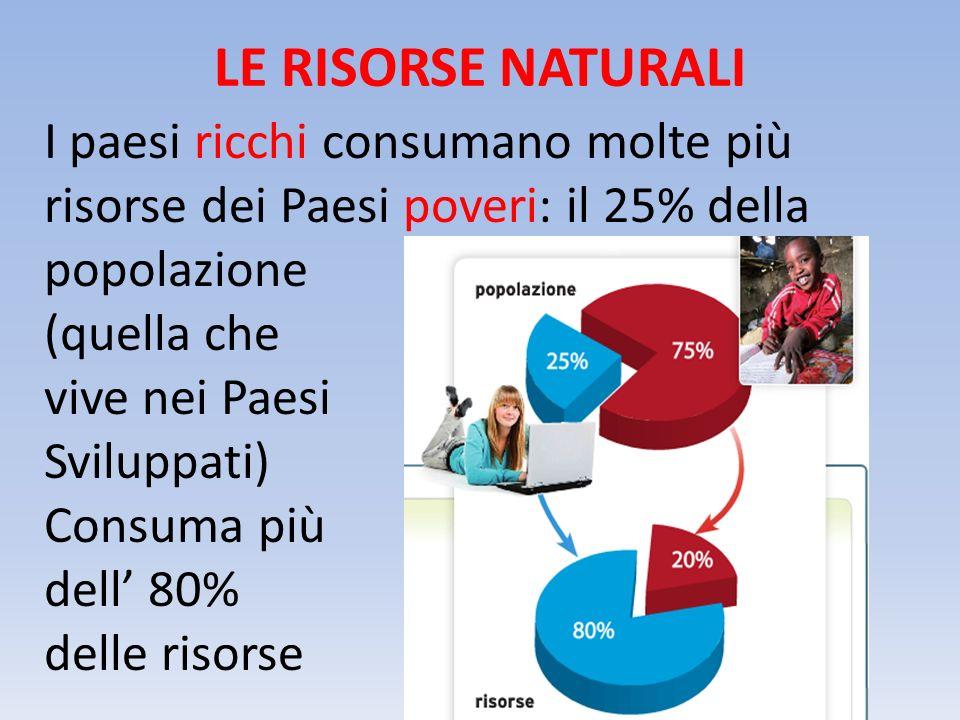 LE RISORSE NATURALI I paesi ricchi consumano molte più risorse dei Paesi poveri: il 25% della popolazione.