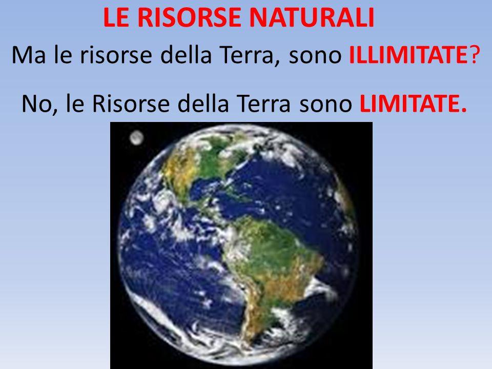 LE RISORSE NATURALI Ma le risorse della Terra, sono ILLIMITATE