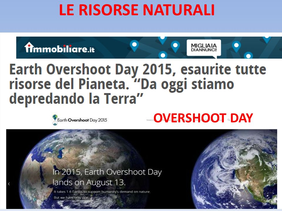 LE RISORSE NATURALI OVERSHOOT DAY