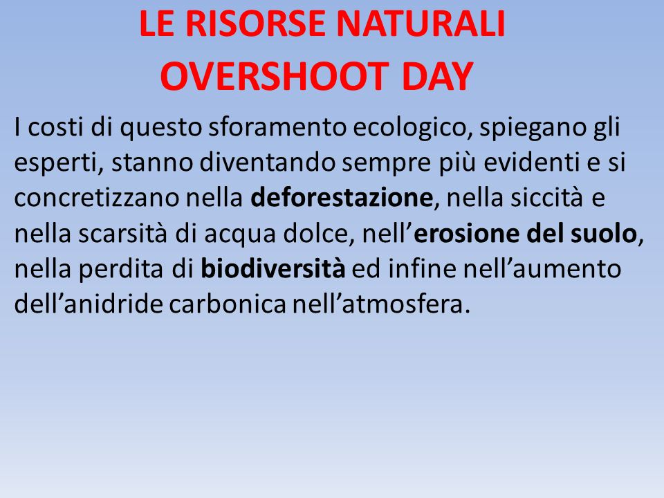 OVERSHOOT DAY LE RISORSE NATURALI