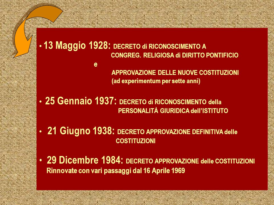 29 Dicembre 1984: DECRETO APPROVAZIONE delle COSTITUZIONI