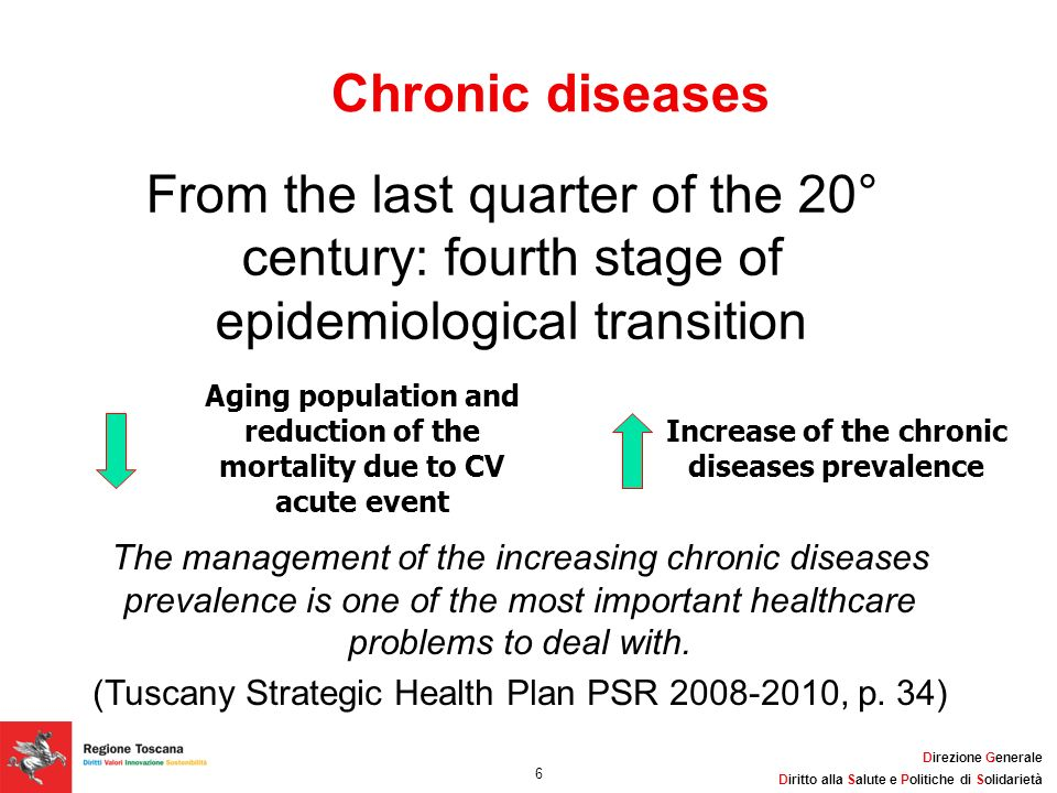 Chronic diseasesFrom the last quarter of the 20° century: fourth stage of epidemiological transition.