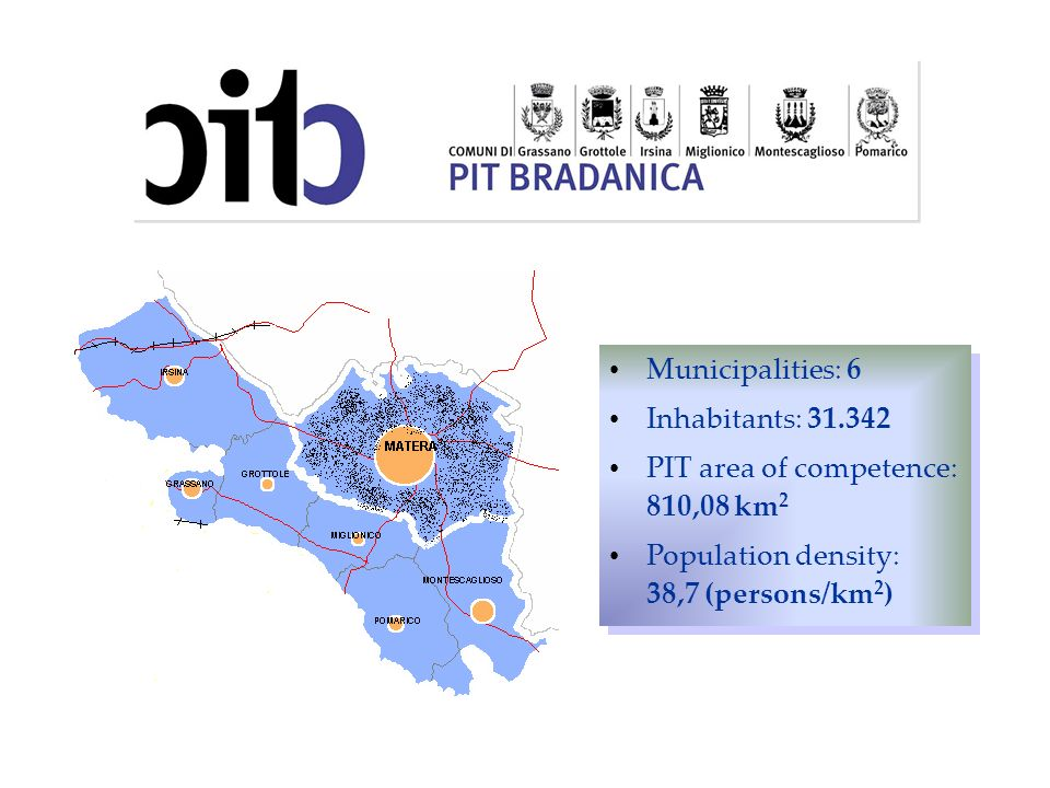Municipalities: 6 Inhabitants: 31.342. PIT area of competence: 810,08 km2.
