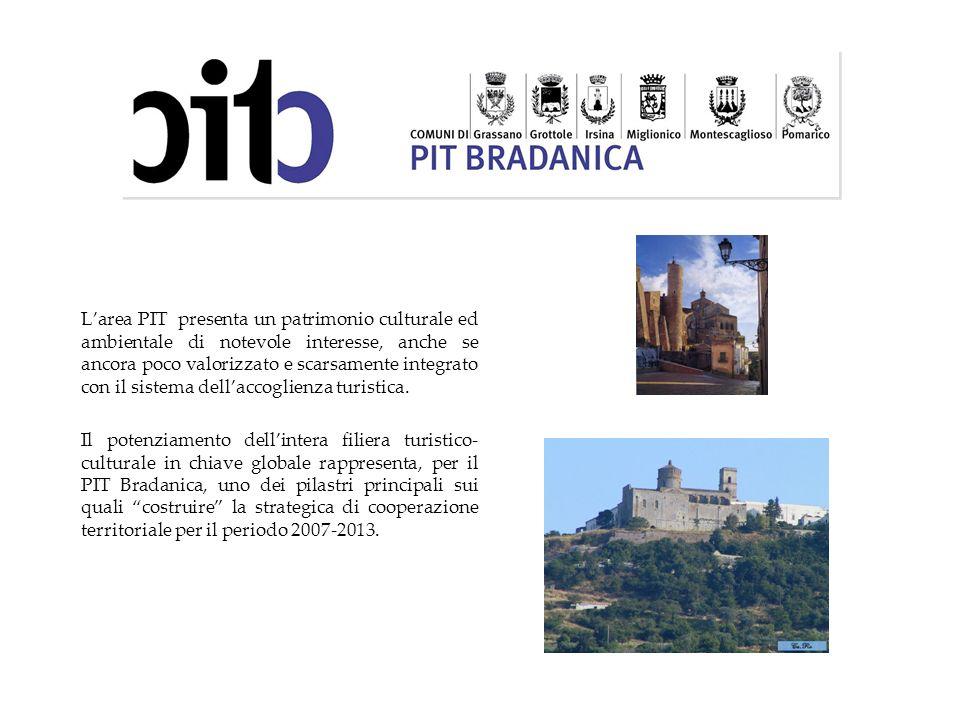 L'area PIT presenta un patrimonio culturale ed ambientale di notevole interesse, anche se ancora poco valorizzato e scarsamente integrato con il sistema dell'accoglienza turistica.