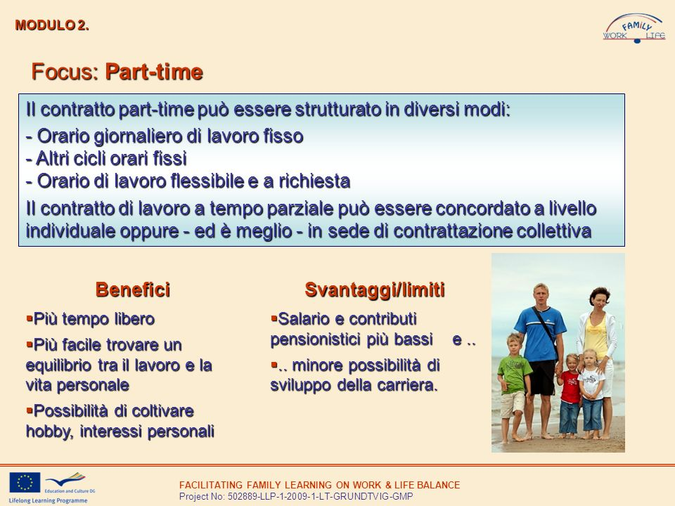 MODULO 2. Focus: Part-time. Il contratto part-time può essere strutturato in diversi modi: - Orario giornaliero di lavoro fisso.