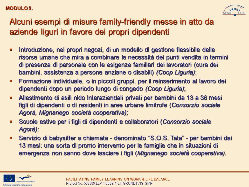 MODULO 2. Alcuni esempi di misure family-friendly messe in atto da aziende liguri in favore dei propri dipendenti.