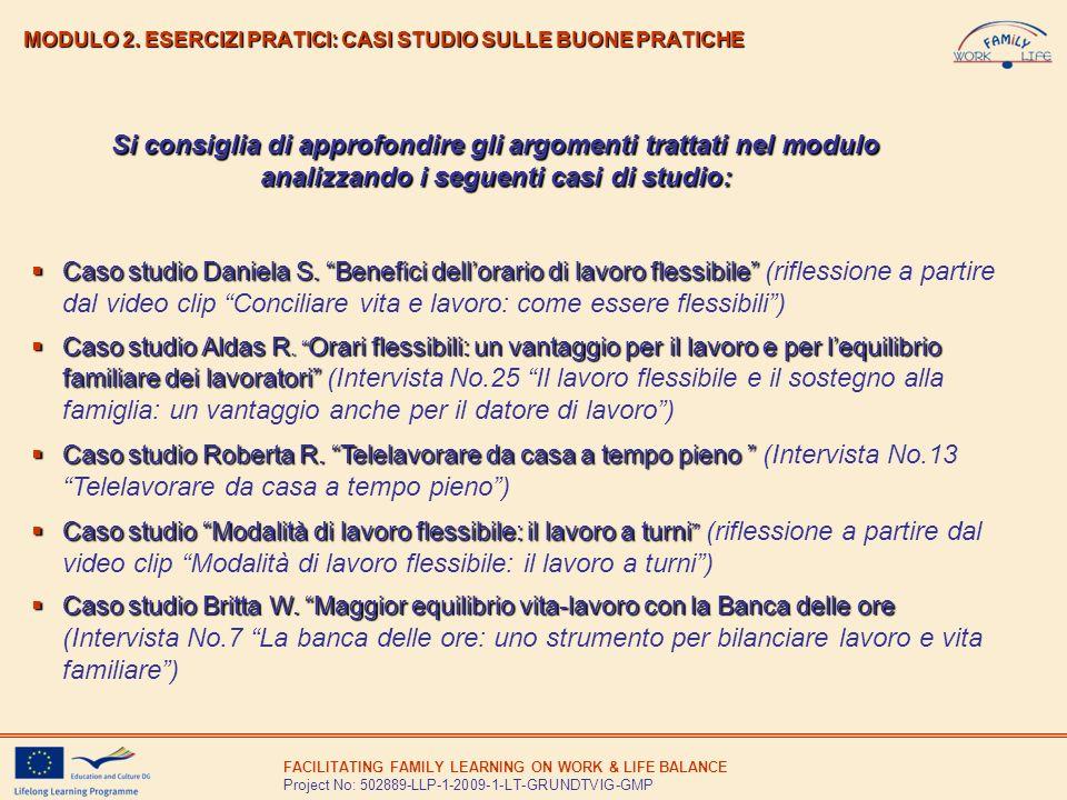 MODULO 2. ESERCIZI PRATICI: CASI STUDIO SULLE BUONE PRATICHE