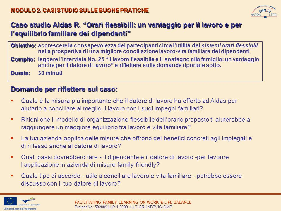 MODULO 2. CASI STUDIO SULLE BUONE PRATICHE