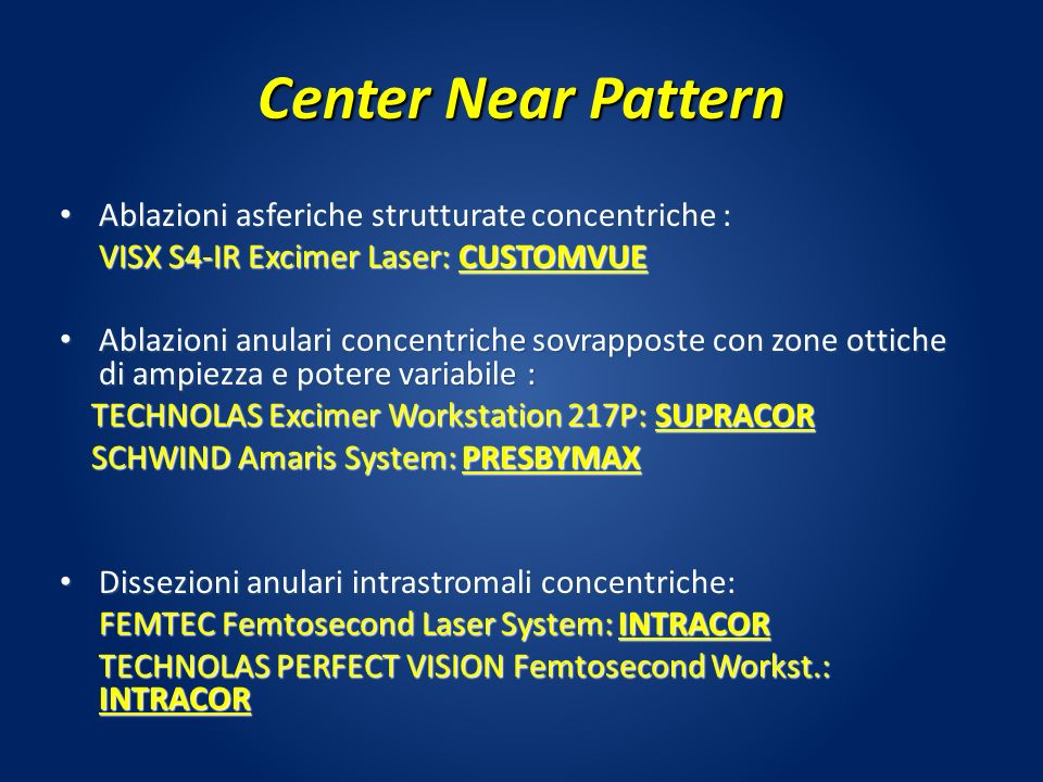 Center Near Pattern Ablazioni asferiche strutturate concentriche :