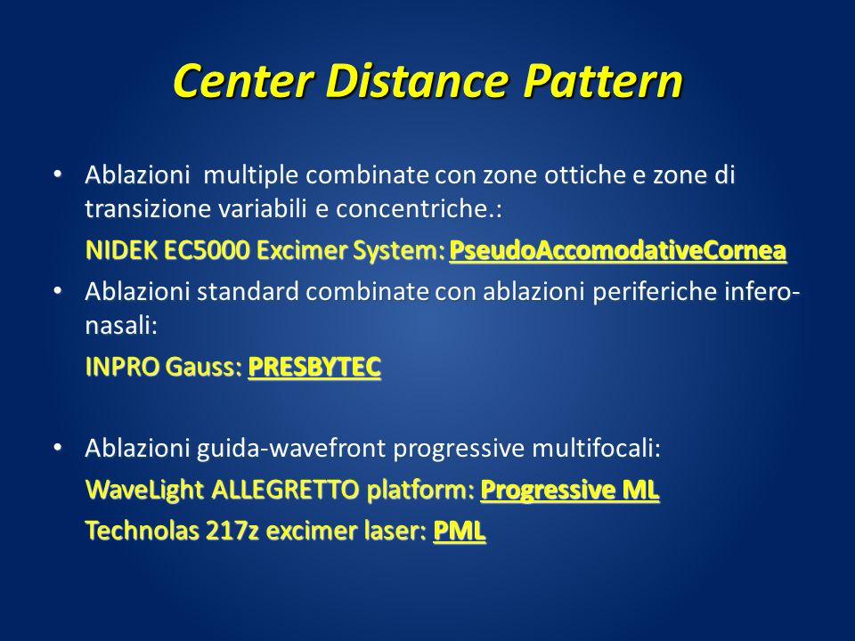 Center Distance Pattern