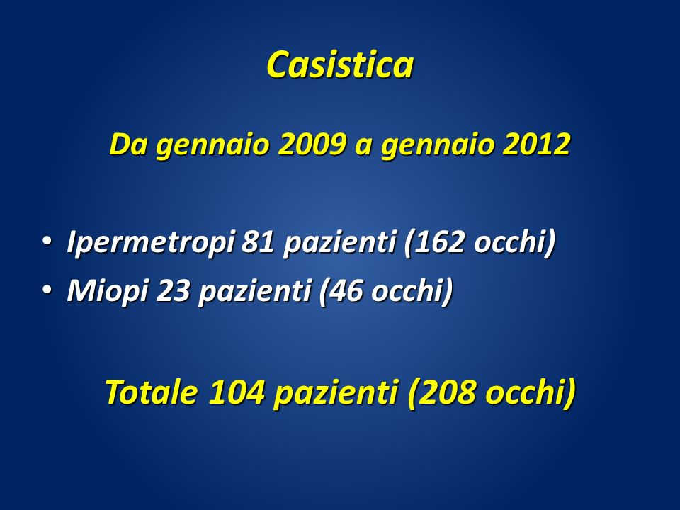 Totale 104 pazienti (208 occhi)