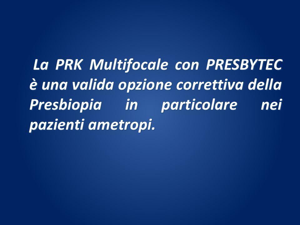 La PRK Multifocale con PRESBYTEC è una valida opzione correttiva della Presbiopia in particolare nei pazienti ametropi.