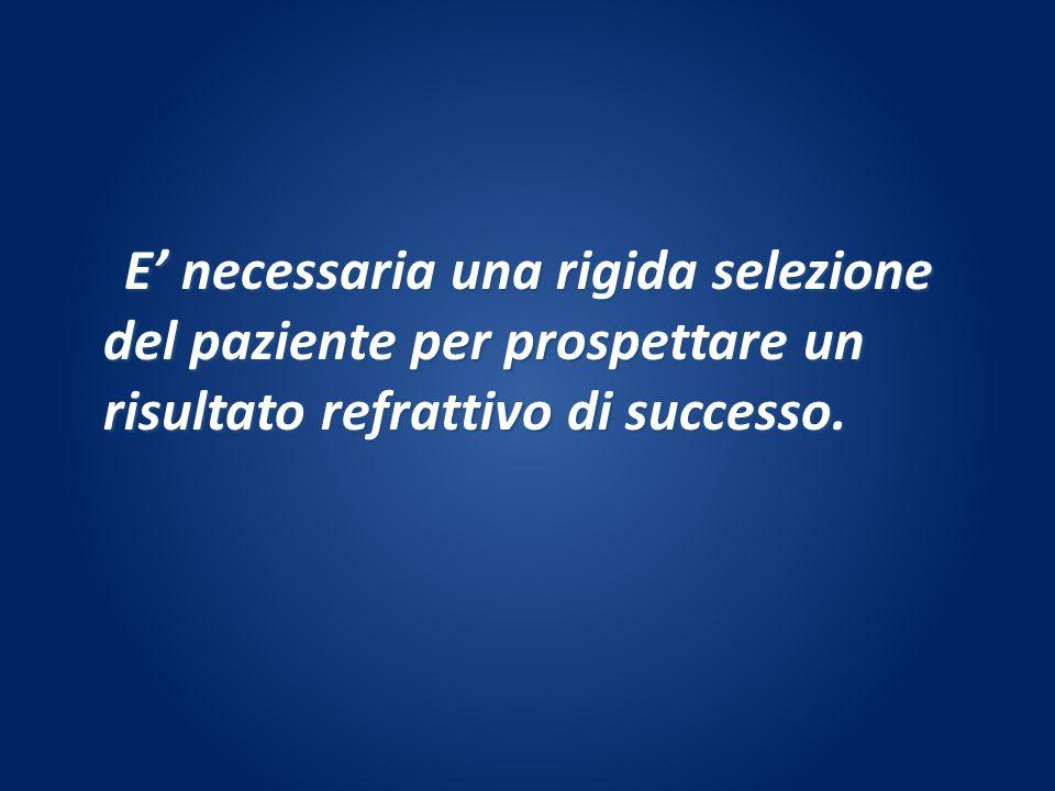 E' necessaria una rigida selezione del paziente per prospettare un risultato refrattivo di successo.