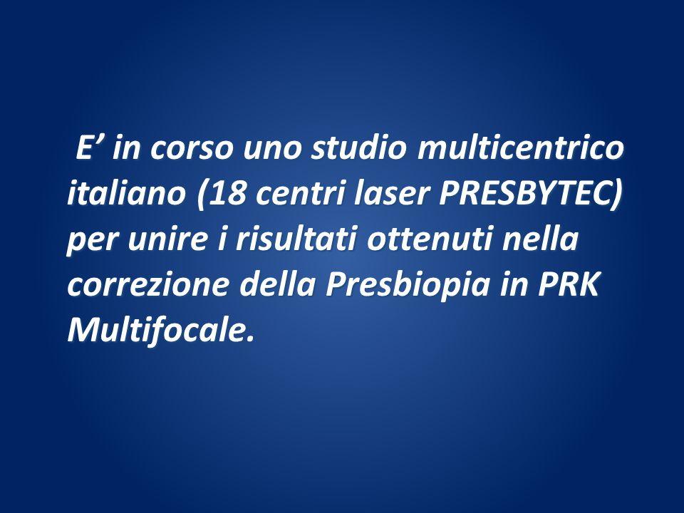 E' in corso uno studio multicentrico italiano (18 centri laser PRESBYTEC) per unire i risultati ottenuti nella correzione della Presbiopia in PRK Multifocale.